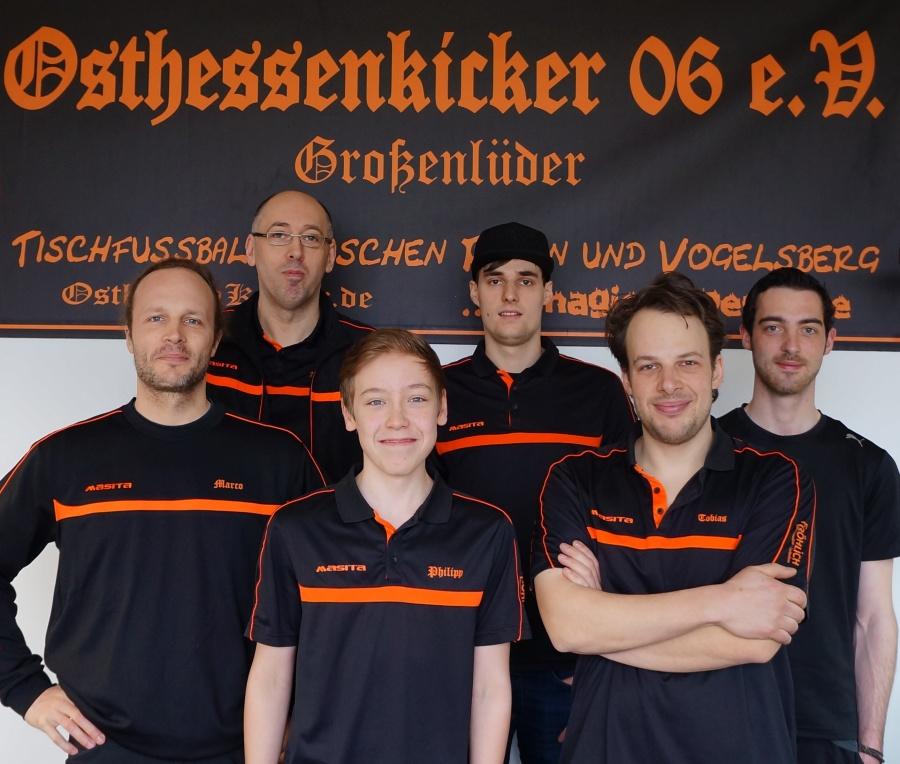 Zweite Mannschaft der Osthessenkicker (v.l.n.r. Marco Fröhlich, Andreas Stumpf, Philipp Eisenberg, Jan Wagner, Tobias Fröhlich, Moritz Schilar)